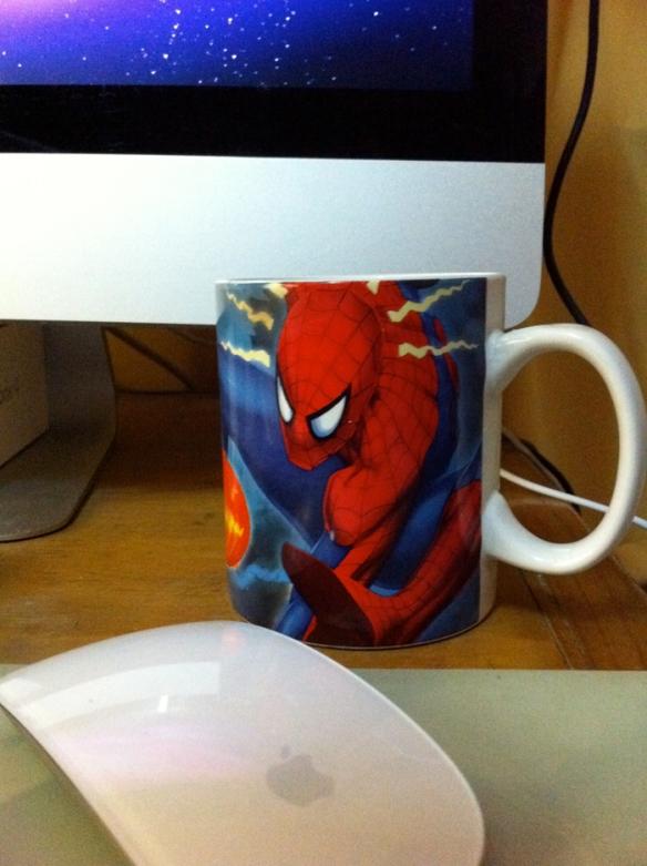 spider-man mug, apple magic mouse